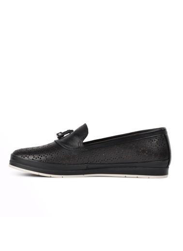 Ayakmod 335 Siyah Hakiki Deri Kadın Günlük Ayakkabı Siyah